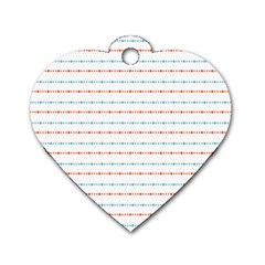 Line Polka Dots Blue Red Sexy Dog Tag Heart (one Side)
