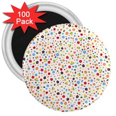 Flower Star Rose Sunflower Rainbow Smal 3  Magnets (100 Pack)