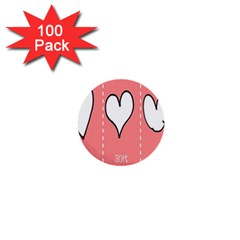 Love Heart Valentine Pink White Sexy 1  Mini Buttons (100 Pack)