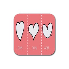 Love Heart Valentine Pink White Sexy Rubber Square Coaster (4 Pack)