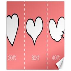 Love Heart Valentine Pink White Sexy Canvas 8  X 10