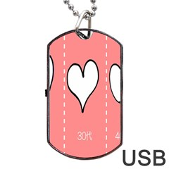 Love Heart Valentine Pink White Sexy Dog Tag Usb Flash (two Sides)