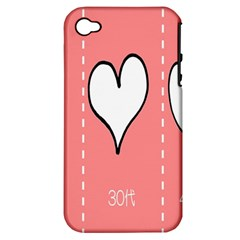 Love Heart Valentine Pink White Sexy Apple Iphone 4/4s Hardshell Case (pc+silicone)