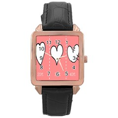 Love Heart Valentine Pink White Sexy Rose Gold Leather Watch
