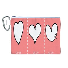 Love Heart Valentine Pink White Sexy Canvas Cosmetic Bag (l)