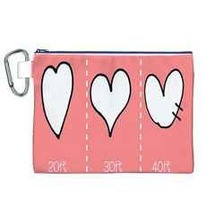 Love Heart Valentine Pink White Sexy Canvas Cosmetic Bag (xl)