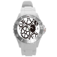 Machine Iron Maintenance Round Plastic Sport Watch (l)