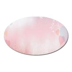 Love Heart Pink Valentine Flower Leaf Oval Magnet