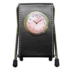 Love Heart Pink Valentine Flower Leaf Pen Holder Desk Clocks