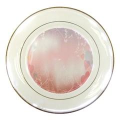 Love Heart Pink Valentine Flower Leaf Porcelain Plates