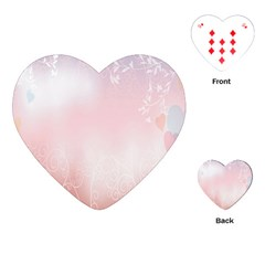 Love Heart Pink Valentine Flower Leaf Playing Cards (heart)