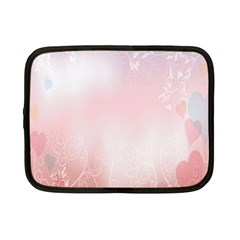 Love Heart Pink Valentine Flower Leaf Netbook Case (small)