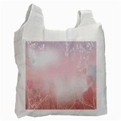Love Heart Pink Valentine Flower Leaf Recycle Bag (two Side)