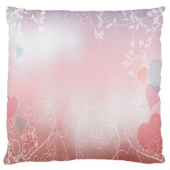 Love Heart Pink Valentine Flower Leaf Large Cushion Case (two Sides)