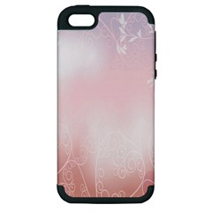 Love Heart Pink Valentine Flower Leaf Apple Iphone 5 Hardshell Case (pc+silicone)