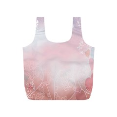 Love Heart Pink Valentine Flower Leaf Full Print Recycle Bags (s)