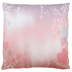 Love Heart Pink Valentine Flower Leaf Standard Flano Cushion Case (two Sides)