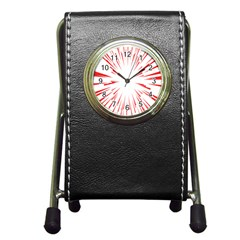 Line Red Sun Arrow Pen Holder Desk Clocks