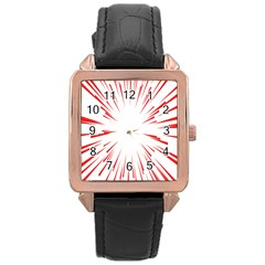 Line Red Sun Arrow Rose Gold Leather Watch