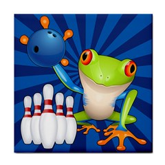 Tree Frog Bowling Tile Coasters