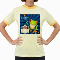 Tree Frog Bowling Women s Fitted Ringer T Shirts