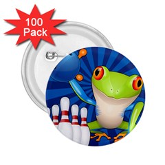 Tree Frog Bowling 2 25  Buttons (100 Pack)