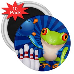Tree Frog Bowling 3  Magnets (10 Pack)