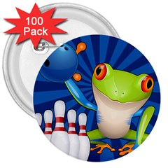Tree Frog Bowling 3  Buttons (100 Pack)