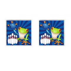Tree Frog Bowling Cufflinks (square)