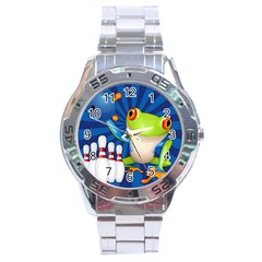 Tree Frog Bowling Stainless Steel Analogue Watch