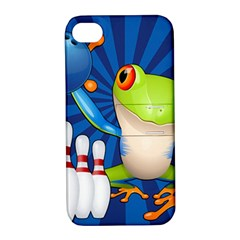 Tree Frog Bowling Apple Iphone 4/4s Hardshell Case With Stand
