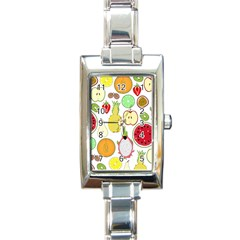 Mango Fruit Pieces Watermelon Dragon Passion Fruit Apple Strawberry Pineapple Melon Rectangle Italian Charm Watch
