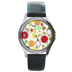 Mango Fruit Pieces Watermelon Dragon Passion Fruit Apple Strawberry Pineapple Melon Round Metal Watch