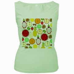Mango Fruit Pieces Watermelon Dragon Passion Fruit Apple Strawberry Pineapple Melon Women s Green Tank Top