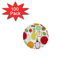 Mango Fruit Pieces Watermelon Dragon Passion Fruit Apple Strawberry Pineapple Melon 1  Mini Buttons (100 Pack)