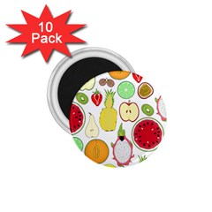 Mango Fruit Pieces Watermelon Dragon Passion Fruit Apple Strawberry Pineapple Melon 1 75  Magnets (10 Pack)