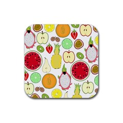 Mango Fruit Pieces Watermelon Dragon Passion Fruit Apple Strawberry Pineapple Melon Rubber Square Coaster (4 Pack)