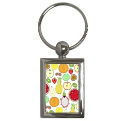 Mango Fruit Pieces Watermelon Dragon Passion Fruit Apple Strawberry Pineapple Melon Key Chains (rectangle)