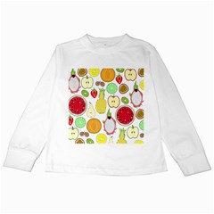 Mango Fruit Pieces Watermelon Dragon Passion Fruit Apple Strawberry Pineapple Melon Kids Long Sleeve T Shirts