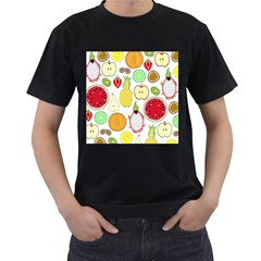 Mango Fruit Pieces Watermelon Dragon Passion Fruit Apple Strawberry Pineapple Melon Men s T Shirt (black)