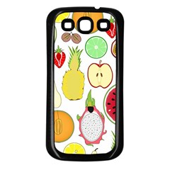 Mango Fruit Pieces Watermelon Dragon Passion Fruit Apple Strawberry Pineapple Melon Samsung Galaxy S3 Back Case (black)