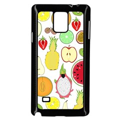 Mango Fruit Pieces Watermelon Dragon Passion Fruit Apple Strawberry Pineapple Melon Samsung Galaxy Note 4 Case (black)