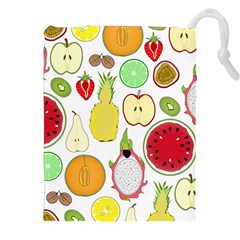 Mango Fruit Pieces Watermelon Dragon Passion Fruit Apple Strawberry Pineapple Melon Drawstring Pouches (xxl)