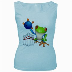 Tree Frog Bowler Women s Baby Blue Tank Top