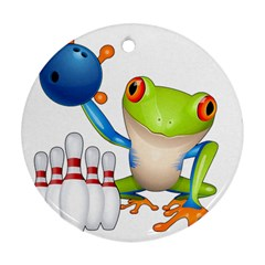 Tree Frog Bowler Round Ornament (two Sides)