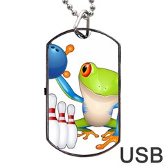 Tree Frog Bowler Dog Tag Usb Flash (one Side)