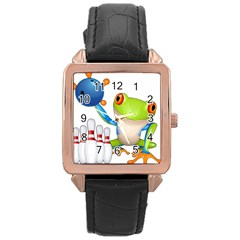 Tree Frog Bowler Rose Gold Leather Watch