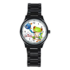 Tree Frog Bowler Stainless Steel Round Watch