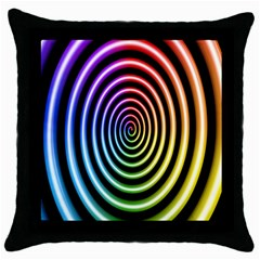 Hypnotic Circle Rainbow Throw Pillow Case (black)