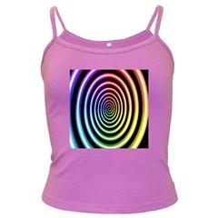 Hypnotic Circle Rainbow Dark Spaghetti Tank